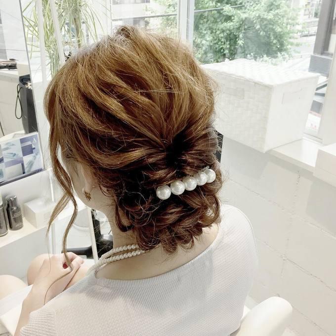結婚式にふさわしいミディアムアップの髪型 , 【結婚式】髪型