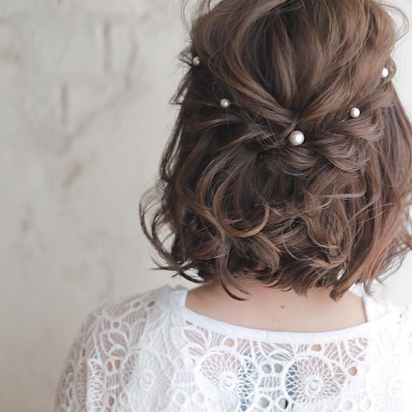 結婚式は自分で髪型をアレンジ♡簡単にできるボブ×ハーフ ...